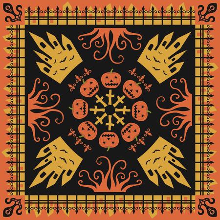 square ornamental pumpkin style pattern