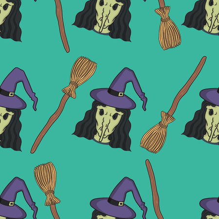broomstick: halloween witch and broomstick seamless pattern