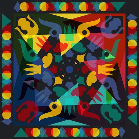 modelo moderno ornamental cuadrado estilo con amarillo, rojo, azul Vectores