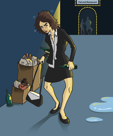 despondent: drunk businesswoman stagger walk and holding a alcohol bottles