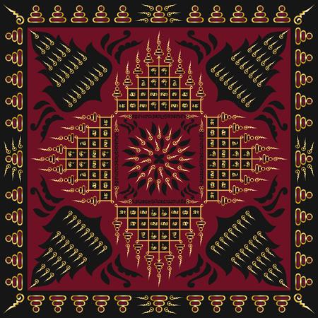 thai tattoo: square ornamental contemporary thai tattoo pattern