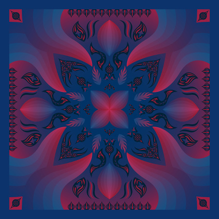 square ornamental blue and red gradient contemporary style pattern Illustration