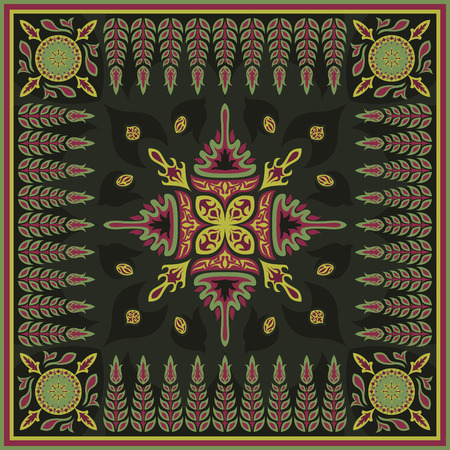 green carpet: square ornamental natural contemporary style pattern