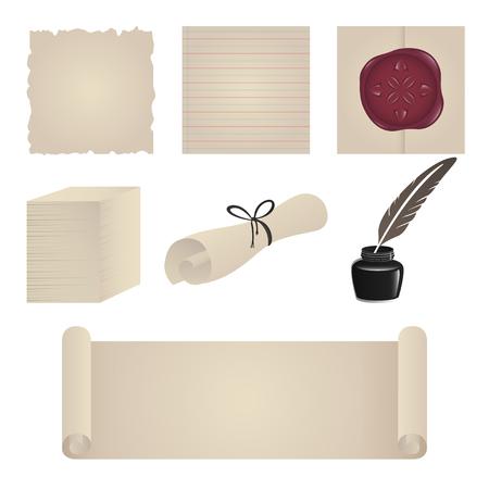 vieja de color marr�n de papel icono conjunto