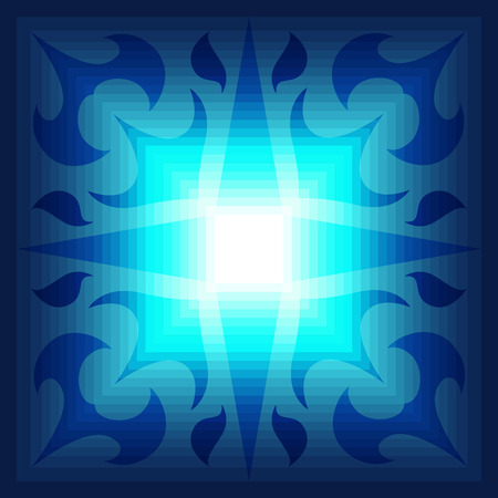 contemporary style: square ornamental blue gradient contemporary style pattern Illustration