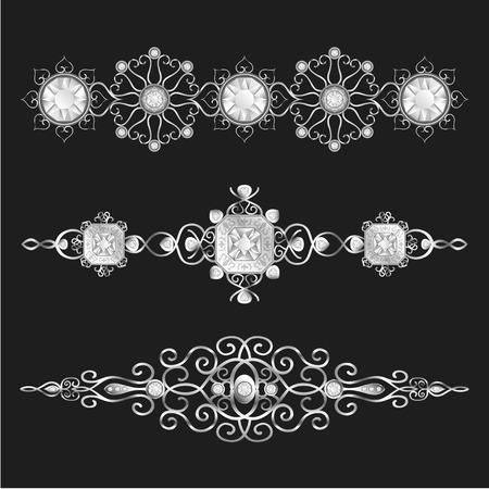 joyas de plata: joyer�a de plata elegante conjunto ornamental Vectores