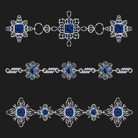 sapphire: elegant silver jewelry with blue sapphire ornamental set Illustration