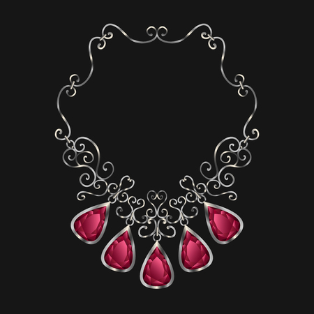 diamond necklace: silver necklace with red diamond drop shape
