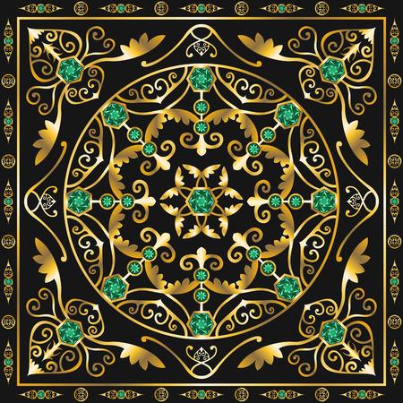 peridot: green jewel square ornamental antique style pattern
