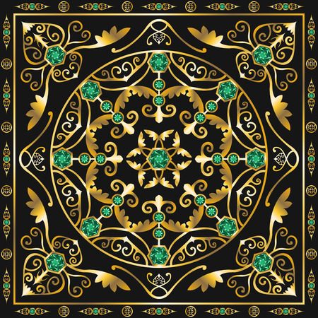 green jewel square ornamental antique style pattern