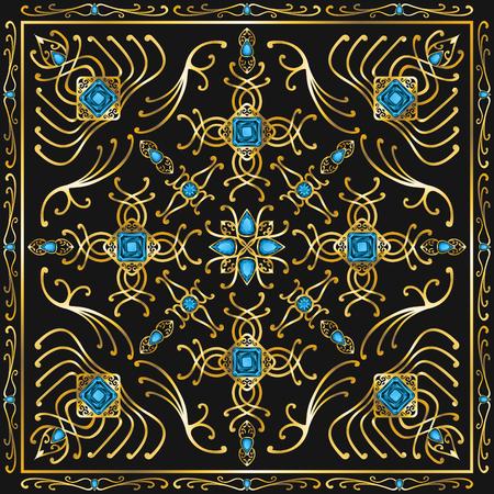 zircon: light blue jewel square ornamental antique style pattern Illustration