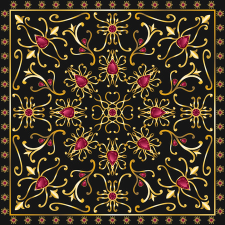 spinel: red jewel square ornamental antique style pattern