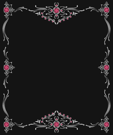 joyas de plata: silver jewelry frame on black background
