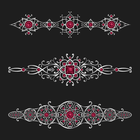 silver jewelry: elegant silver jewelry with red diamond ornamental set Illustration