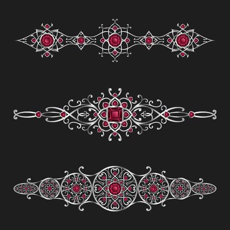 joyer�a de plata elegante con el diamante rojo conjunto ornamental Vectores