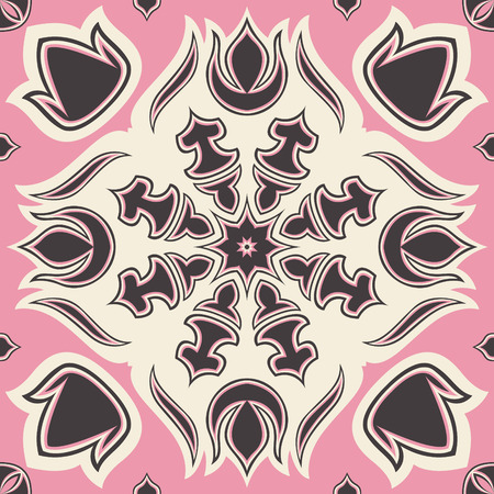 contemporary style: square ornamental pink overlap flora contemporary style pattern