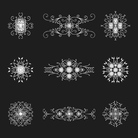 silver jewelry: elegant silver jewelry  pendants ornamental set Illustration