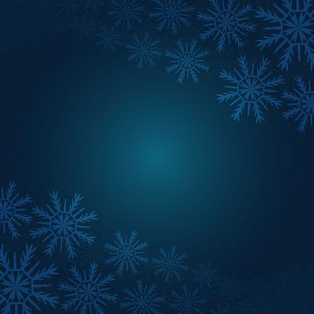 los copos de nieve de Navidad sobre fondo azul