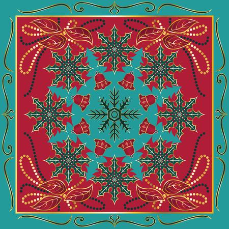 motivo ornamental de estilo cuadrado navidad