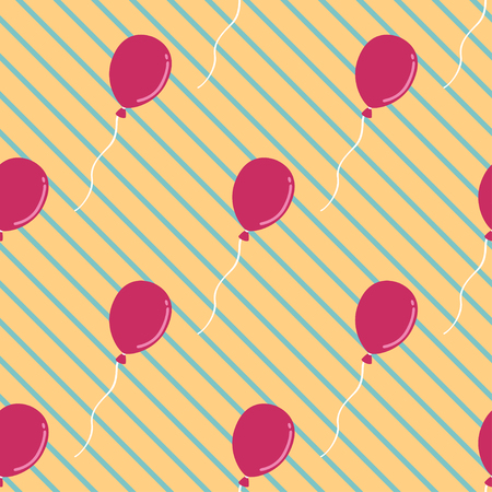 puerile: red balloon seamless pattern on green askew lines background Illustration