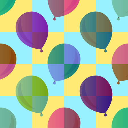puerile: transparency balloon seamless pattern on checkered Illustration