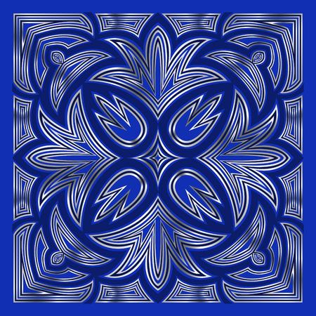 carpet: square ornamental blue and silver contemporary pattern