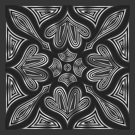 ornamental modelo contempor�neo negro y plata cuadrado Vectores
