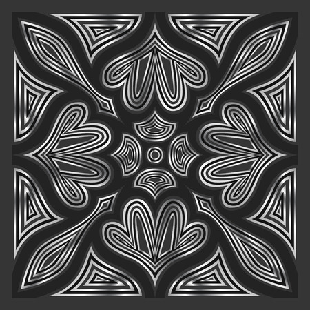 square ornamental black and silver contemporary pattern Illustration