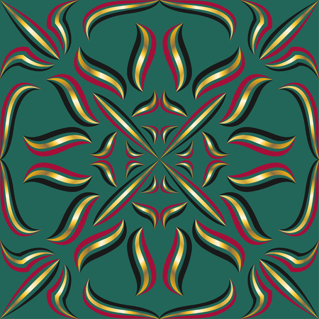 luxury: square ornamental three color line style pattern