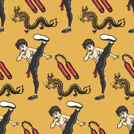 kung fu: kung fu high kick seamless pattern on yellow background Illustration