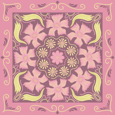 carpet: square ornamental pink floral pattern