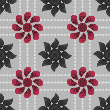 red and black floral seamless pattern on grey background