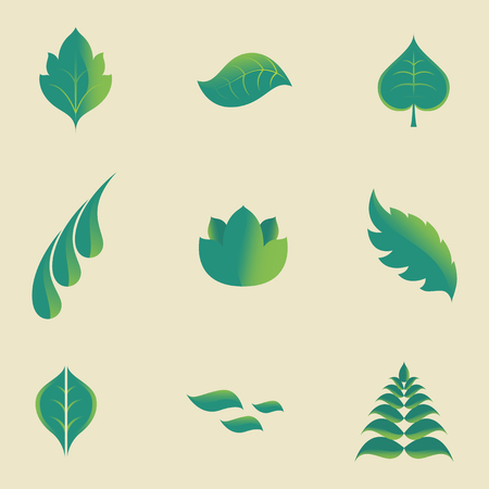 blown away: set of green leaves icon