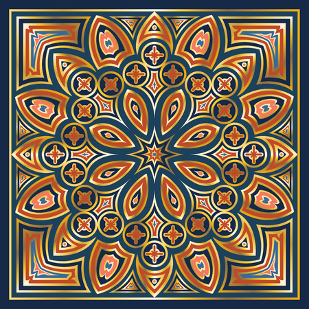 kerchief: golden edge and colors pattern on  blue background