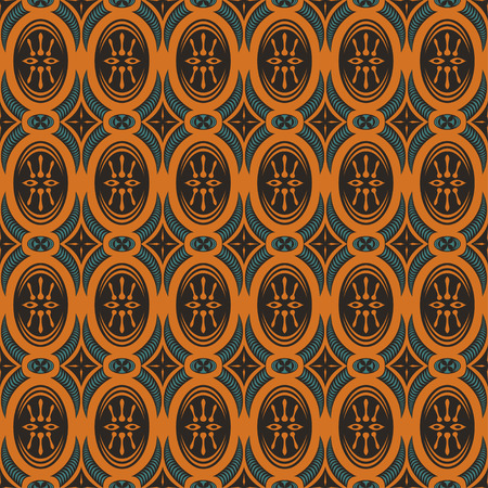green and orange retro seamless pattern Illustration