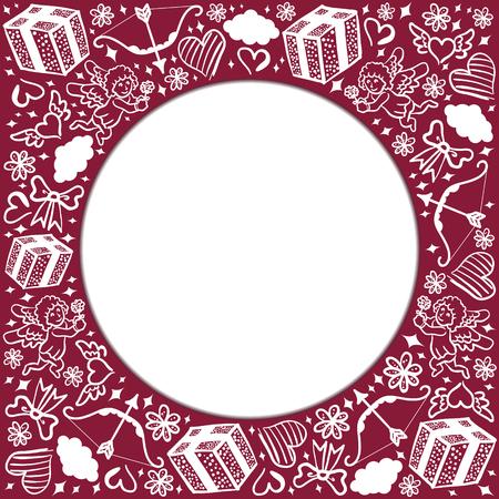 dibujo blanco en tarjeta del d�a de San Valent�n roja Vectores