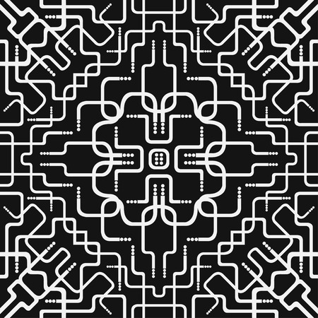 entwine: white pipe intersection seamless pattern on black Illustration