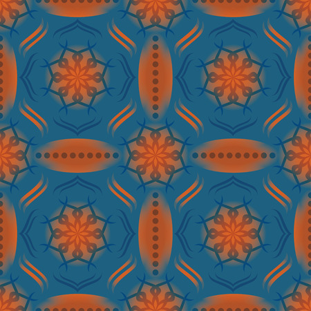 flora: flora and geometric shape seamless pattern on blue background