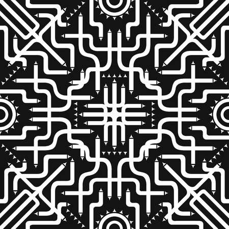 involve: white tube involve seamless pattern on black