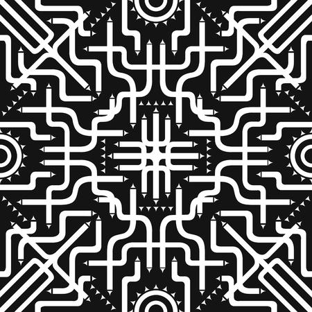 involve: white tube involve seamless pattern on black