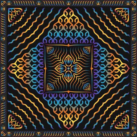 multi colors: multi colors gradient shape pattern on black background Illustration