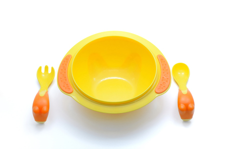 cute baby plastic bowl on white background