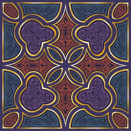 three colors: three colors with golden border pattern on purple