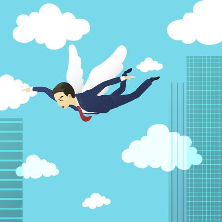 unafraid: businessman flying freedom on the sky
