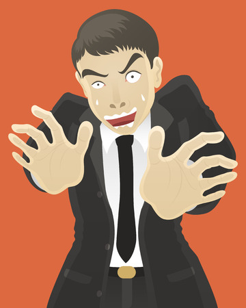 apprehension: businessman scared something in front of him