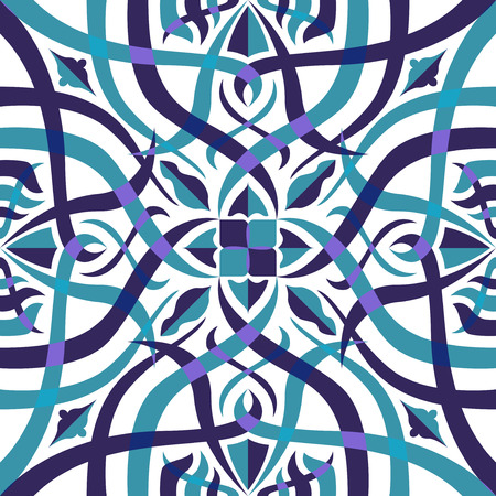 contemporary light blue and purple shape overlay pattern on white Illustration