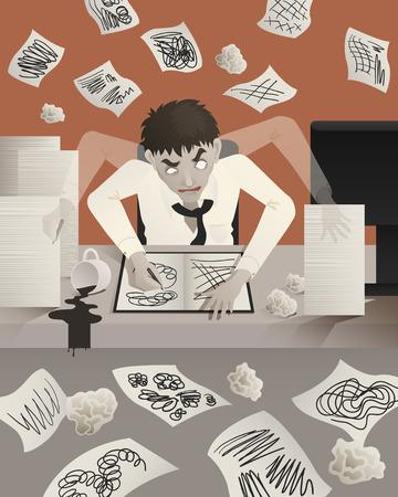 tried: businessman working hard until look like a zombie