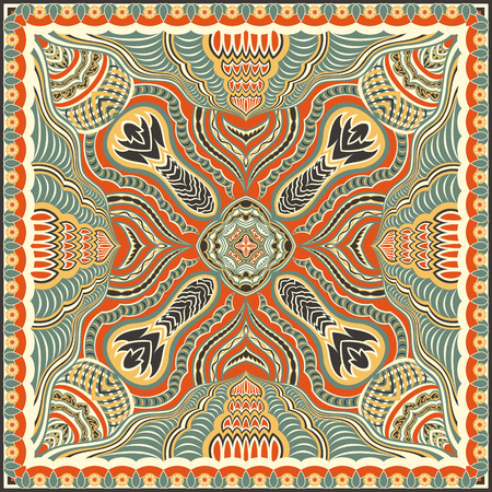 contemporary native style pattern on orange background