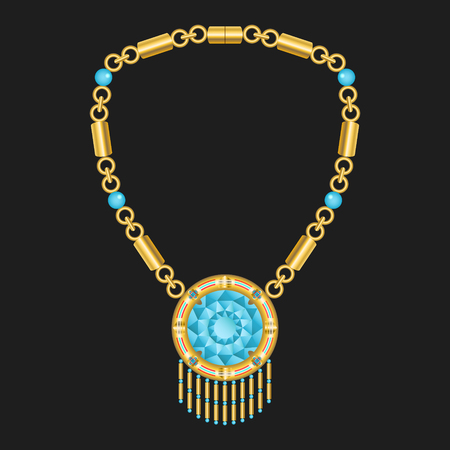 diamond necklace: modern golden american indian necklace with aquamarine diamond Illustration