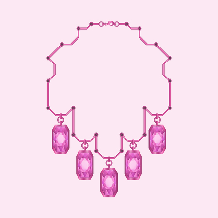 diamond necklace: modern pink diamond  with pipe style necklace Illustration